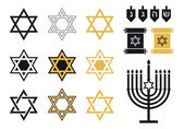 Jewish stars, religious icon set, vector — Vetor de Stock
