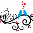 Love birds with red hearts, vector — Cтоковый вектор