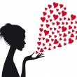 Vector de stock : Woman with red hearts, vector