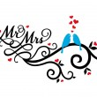 Mr and Mrs wedding birds, vector — Vector de stock #38661899