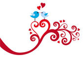 Love birds with heart swirl, vector — Vecteur