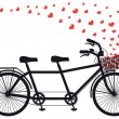 Stock Vector: Tanden bicycle with red hearts, vector