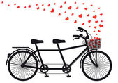 Tanden bicycle with red hearts, vector — Stock Vector