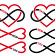 Hearts with infinity sign for mom, dad, vector set — Stockvector