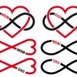Hearts with infinity sign for mom, dad, vector set — Vettoriale Stock
