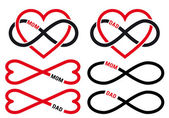 Hearts with infinity sign for mom, dad, vector set — Vecteur