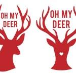 Oh my deer heads, vector — Stock Vector #40090873