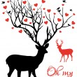 Stock Vector: Deer couple with red hearts, vector