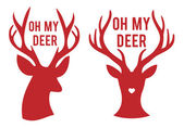 Oh my deer heads, vector — Stock Vector