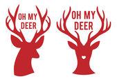 Oh my deer heads, vector — Stock Vector