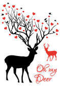 Deer couple with red hearts, vector — Stok Vektör