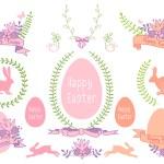 Happy Easter vector design set — Stock Vector