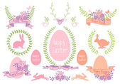 Happy Easter vector design set — Stock Vector
