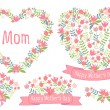Happy mothers day, floral hearts, vector set — Vector de stock