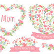 Happy mothers day, floral hearts, vector set — Stok Vektör
