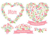 Happy mothers day, floral hearts, vector set — Stock Vector