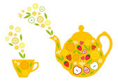 Tea pot and cup with fruits, vector — Stock Vector