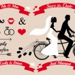 Wedding couple on tandem bicycle, vector set — Stock Vector