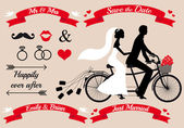 Wedding couple on tandem bicycle, vector set — Stok Vektör
