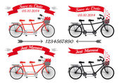 Wedding tandem bicycles, vector set — Stock Vector
