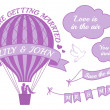 Hot air balloon wedding invitation, vector — Vector de stock