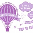 Hot air balloon wedding invitation, vector — Stock vektor