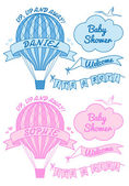 New baby boy and girl with hot air balloon, vector — ストックベクタ