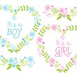 Baby boy and girl, floral hearts, vector — Stock Vector #42481265