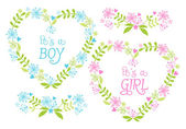 Baby boy and girl, floral hearts, vector — Stock Vector