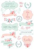 Vintage wedding frames and ribbons, vector set — Stock Vector