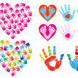 Hand print hearts, vector set — Stock vektor