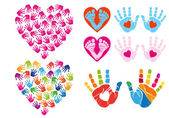 Hand print hearts, vector set — Stock Vector