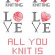 I love knitting, vector set — Stock Vector