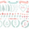Floral laurel wreath, vector set — ストックベクタ #44758667