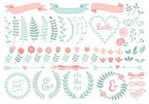 Floral laurel wreath, vector set — Stok Vektör