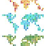 Abstract dot world map, vector set — Stock Vector #45777357