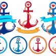 Anchors with ribbons and frames, vector set — Stock Vector #47036805