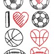 Soccer ball, football and basketball, vector set — Stockvector