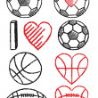 Soccer ball, football and basketball, vector set — Stock Vector #48978051