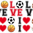 Love soccer, football, basketball, baseball, vector set — Vector de stock  #48978263