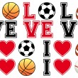 Love soccer, football, basketball, baseball, vector set — Vetorial Stock