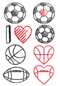Soccer ball, football and basketball, vector set — Stock Vector