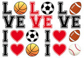 Love soccer, football, basketball, baseball, vector set — Stock Vector