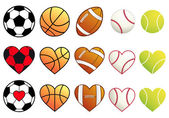 Sport balls and hearts, vector set — Stock Vector