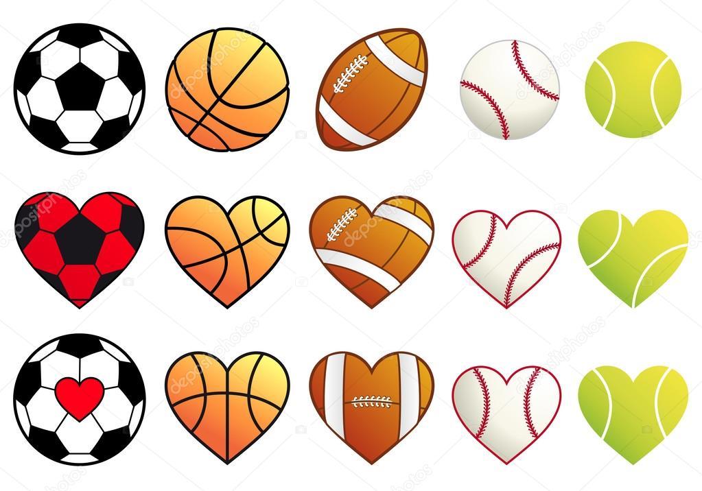 Deportes De Pelota Descargar Vectores Gratis: Deporte Pelotas Y Corazones, Vector Juego
