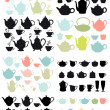 Coffee and tea pots and mugs, vector — Stock Vector