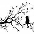 Cat on a tree with birds, vector — ストックベクタ #5962440