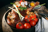 Roasted leg of lamb — Stock Photo