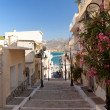 A walking path with steps in the town of Sitia - Stock Photo