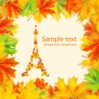 Eiffel tower of flowers with autumn leaves frame - Stock Photo